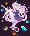 1girl absurdly_long_hair absurdres bangs bare_arms bare_legs bare_shoulders blunt_bangs blush braid commentary_request dress earrings earth eyebrows_visible_through_hair from_side fur-trimmed_dress highres jewelry jupiter jupiter_symbol light_smile long_hair looking_at_viewer looking_to_the_side mars_(planet) mars_symbol mercury_(planet) mercury_symbol neptune neptune_symbol original outstretched_arm pink_hair planet pluto_(planet) pluto_symbol purple_shoes sandals saturn saturn_symbol shoes sleeveless sleeveless_dress solo space star star_earrings starry_sky_print tsukiyo_(skymint) uranus uranus_symbol venus_(planet) venus_symbol very_long_hair violet_eyes