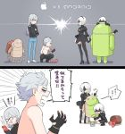 1girl 3boys adam_(nier_automata) android_(mascot) android_(os) angry apple apple_inc. basket black_hairband blindfold cellphone eve_(nier_automata) feather-trimmed_sleeves food fruit glasses hairband iphone long_hair machine_(nier) multiple_boys nier_(series) nier_automata paint paintbrush phone silver_hair smartphone tagme translation_request yorha_no._2_type_b yorha_no._9_type_s