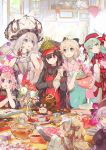 10s 1boy 6+girls :d :q ahoge apron aqua_hair artist_name bangs beaker black_gloves blonde_hair blue_eyes book bouquet bow bowl bowtie cake carton chin_rest chocolate chocolate_cake chocolate_heart closed_eyes cookie cooking creature day demon_archer dress elbow_gloves eyebrows_visible_through_hair fate/apocrypha fate/extra fate/grand_order fate_(series) flower food fou_(fate/grand_order) fruit fur_trim gloves grey_eyes hair_between_eyes hair_bow hair_ribbon hat headpiece heart heart_print holding holding_bowl horns indoors japanese_clothes jeanne_alter jeanne_alter_(santa_lily)_(fate) kitchen kiyohime_(fate/grand_order) koha-ace laughing long_hair long_sleeves marie_antoinette_(fate/grand_order) mixing_bowl multiple_girls namie-kun nursery_rhyme_(fate/extra) open_book open_mouth peaked_cap pepper_shaker pink_eyes reading red_eyes ribbon rider_of_black ruler_(fate/apocrypha) sakura_saber salt_shaker shinsengumi short_hair short_sleeves silver_hair skull smile star table tissue tissue_box tongue tongue_out trap tray twintails vase violet_eyes whisk white_gloves wide_sleeves window yellow_eyes