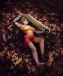 1girl absurdres arm_above_head arm_warmers armpits autumn_leaves bare_legs barefoot breasts day dress expressionless fingernails full_body grey_hair hatchet heiyao highres large_breasts layered_dress leaf lips long_hair looking_at_viewer lying maple_leaf on_back on_ground oriental_hatchet outdoors red_eyes sakata_nemuno solo toenails touhou very_long_hair