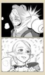 1girl 2koma animal_costume backpack bag before_and_after blush choker close-up closed_eyes comic commentary dungeon_meshi elf frog_costume greyscale hood hood_down hood_up looking_away marcille monochrome parted_lips pointy_ears smile sweatdrop tatara tied_hair