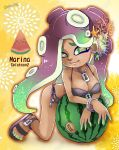 artist_name barefoot_sandals bikini breasts cephalopod_eyes character_name cleavage copyright_name crossed_arms dark_skin food fruit green_eyes green_hair green_skin hair_ornament highres iida_(splatoon) jewelry kneeling leaning_forward leaning_on_object lesuna long_hair looking_at_viewer mole mole_under_mouth multicolored multicolored_hair multicolored_skin octarian pendant purple_hair red_pupils sandals side-tie_bikini side-tie_bottom smile splatoon splatoon_2 suction_cups swimsuit tentacle_hair watermelon wristband zipper_pull_tab