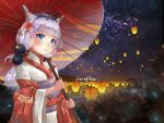1girl beads blue_eyes blush hair_beads hair_ornament hairband horns japanese_clothes kanna_kamui kobayashi-san_chi_no_maidragon lantern night obon outdoors parasol purple_hair sky solo star_(sky) starry_sky umbrella wide_sleeves xiangjibao