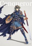 1boy alm_(fire_emblem) armor breastplate english fire_emblem fire_emblem_echoes:_mou_hitori_no_eiyuuou fire_emblem_gaiden full_body gauntlets greaves gzei holding holding_shield holding_sword holding_weapon looking_at_viewer pauldrons shield simple_background smile solo sword weapon