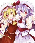 >:) 2girls akisome_hatsuka ascot bare_shoulders bat_wings blonde_hair blue_hair blush breasts closed_mouth cowboy_shot crystal flandre_scarlet frilled_shirt_collar frills hair_between_eyes hat hat_ribbon mob_cap multiple_girls red_eyes red_ribbon remilia_scarlet ribbon sash shirt siblings side_ponytail sisters skirt skirt_set sleeveless sleeveless_shirt small_breasts smile touhou v wings wrist_cuffs