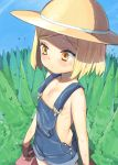 1girl blonde_hair blush brown_hair fate/grand_order fate_(series) flat_chest forest giantess hat henry_bird_9 naked_overalls nature orange_eyes overalls paul_bunyan_(fate/grand_order) short_hair solo sweat