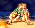 2girls acoustic_guitar ahoge ankle_socks artist_request bangs beach bow braid closed_eyes commentary_request crossed_ankles face-to-face fire green_jacket grey_hair grin guitar hair_bow holding holding_instrument hood hooded_jacket instrument jacket kneehighs knees_up love_live! love_live!_sunshine!! multiple_girls neck_ribbon night night_sky ocean orange_hair ribbon sand shoes short_sleeves shorts side_braid sitting sitting_on_ground sky smile suspenders takami_chika watanabe_you white_ribbon yellow_bow yuri