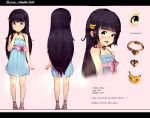 1girl banana_hair_ornament black_hair blue_dress character_profile character_sheet child collar diathorn dress food_themed_hair_ornament green_eyes hair_ornament hairclip highres long_hair multiple_views open_mouth original sandals smile sundress turnaround very_long_hair