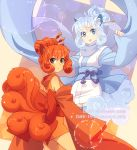 2girls alolan_vulpix animal_ears brown_eyes dav-19 detached_sleeves fox_ears fox_tail grey_eyes humanization japanese_clothes kimono kitsune looking_at_viewer multiple_girls multiple_tails open_mouth pokemon redhead scarf short_kimono silver_hair smile tail vulpix wide_sleeves
