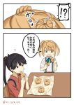 !? 2girls 2koma ascot bread comic commentary_request double_bun eating food houshou_(kantai_collection) japanese_clothes kantai_collection long_hair michishio_(kantai_collection) misumi_(niku-kyu) multiple_girls ponytail school_uniform suspenders tasuki translation_request