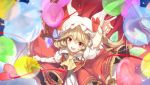 1girl arm_up ascot balloon bangs blonde_hair fangs flandre_scarlet from_above hair_between_eyes hat hat_ribbon heart heart_balloon looking_at_viewer mob_cap no-kan one_side_up open_mouth puffy_short_sleeves puffy_sleeves red_eyes red_ribbon red_skirt ribbon short_sleeves skirt smile solo touhou white_hat wings wrist_cuffs