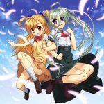 2girls :d :o ahoge bangs blue_eyes blue_sky blush boots bow brown_skirt clenched_hand commentary_request cozy day einhart_stratos eyebrows_visible_through_hair feathers female glowing_feather green_eyes hair_between_eyes hair_bow heterochromia highres huge_ahoge jumping locked_arms long_hair long_skirt looking_at_viewer lyrical_nanoha mahou_shoujo_lyrical_nanoha_vivid multiple_girls open_mouth red_eyes red_ribbon ribbon school_uniform shirt shoes short_sleeves skirt skirt_lift sky smile socks very_long_hair violet_eyes vivio white_legwear white_shirt