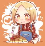 1girl blonde_hair blush fate/grand_order fate_(series) food fork happy heart highres nose_blush open_mouth overalls pancake paul_bunyan_(fate/grand_order) plaid plaid_shirt shirt short_hair sleeves_rolled_up smile solo spoken_heart wadante yellow_eyes