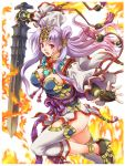 >:o 1girl :o black_gloves blush breasts earrings fingerless_gloves fire forehead_protector from_side gloves headband hisho_collection holding holding_sword holding_weapon japanese_clothes jewelry large_breasts long_hair long_sleeves looking_at_viewer looking_to_the_side obi official_art open_mouth purple_hair red_eyes sash solo sword thigh-highs toshi weapon white_legwear wide_sleeves