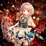 1girl absurdres apron ascot bangs between_fingers blue_dress blush braid checkered checkered_floor chiyu_(kumataro0x0) closed_mouth cowboy_shot cross-laced_clothes danmaku dress dutch_angle eyebrows_visible_through_hair frilled_apron frilled_ascot frills garters green_ascot hair_ribbon highres holding holding_knife indoors izayoi_sakuya knife knives_between_fingers lamp looking_at_viewer magic_circle maid maid_headdress motion_blur petals puffy_short_sleeves puffy_sleeves red_eyes red_ribbon ribbon scarlet_devil_mansion shirt short_hair short_sleeves side_braid silver_hair smile solo standing touhou twin_braids waist_apron weapon white_shirt window wrist_cuffs