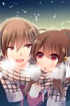 1boy 1girl brother_and_sister brown_hair hano_haruka little_busters! long_hair natsume_kyousuke natsume_rin open_mouth ponytail red_eyes scarf school_uniform shared_scarf siblings snow upper_body