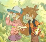 1boy 1girl annoyed bags_under_eyes baseball_cap blush book borrowed_garments braces brother_and_sister brown_hair brown_shorts dipper_pines flower forest gravity_falls hairband half-closed_eyes hand_holding happy hat holding long_hair mabel_pines nature open_mouth pink_sweater profile purple_skirt red_shirt sanako_(sanagineko46) shirt shooting_star shorts siblings skirt sleeveless_jacket smile star star_print sweatdrop sweater t-shirt tired tree tree_print turtleneck twins walking