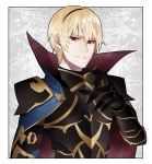 1boy armor blonde_hair cape fire_emblem fire_emblem_if gloves grin highres leon_(fire_emblem_if) looking_at_viewer red_eyes smile solo
