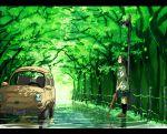 car fiat fiat_500 glasses inumaroboya inumaru_(sougen_no_marogoya) letterboxed long_hair motor_vehicle school_uniform skirt solo standing tree trees umbrella vehicle water