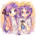 bottle hair_ribbon hiiragi_kagami hiiragi_tsukasa kink long_hair lucky_star purple_hair ribbon short_hair siblings towel twintails