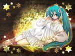 aqua_hair bad_id emura_miurin hair_ribbon hair_ribbons hatsune_miku lingerie long_hair moon nightgown ribbon ribbons star star_(sky) stars twintails underwear vocaloid