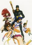 1boy 4girls 80s amano_kazumi arm_up blue_hair brown_eyes brown_hair finger_to_mouth floating_hair headband highres higuchi_kimiko holding holding_weapon jung_freud leotard lipstick long_sleeves looking_at_viewer makeup md5_mismatch mikimoto_haruhiko multiple_girls official_art oldschool open_mouth ponytail redhead scan shinai shoes short_sleeves simple_background sneakers sword takaya_noriko tank_top top_wo_nerae! waving weapon white_background