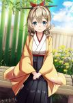 1girl artist_signature bamboo bench black_hakama blue_eyes blue_sky blush breasts clouds drill_hair flower furisode hakama hatakaze_(kantai_collection) highres japanese_clothes kantai_collection kimono light_brown_hair long_sleeves meiji_schoolgirl_uniform omoomomo ponytail short_hair sitting sky solo wavy_hair wide_sleeves yellow_kimono