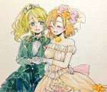 2girls ^_^ artist_request ayase_eli bangs black_bow black_bowtie blonde_hair blue_eyes blush boutonniere bow bowtie closed_eyes commentary_request dress flower formal frilled_shirt_collar frills gloves hair_bow hair_flower hair_ornament hand_holding highres kousaka_honoka long_sleeves looking_at_another love_live! love_live!_school_idol_project love_wing_bell multiple_girls open_mouth orange_hair ponytail smile suit traditional_media veil watercolor_(medium) wedding_dress white_bow white_gloves yuri
