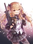 1girl artist_name bandanna bangs black_gloves black_legwear black_skirt blush brown_eyes brown_hair cowboy_shot dress_shirt fingerless_gloves girls_frontline gloves gun h&k_ump hair_between_eyes hair_ornament hairclip hands_up heckler_&_koch holding holding_gun holding_weapon jacket long_hair looking_at_viewer open_clothes open_jacket open_mouth pantyhose pleated_skirt round_teeth shirt sidelocks signature skirt smile solo star submachine_gun teeth trigger_discipline twintails ump9_(girls_frontline) weapon zenyu