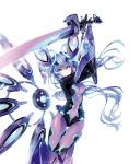 1girl blue_eyes blush bodysuit breasts covered_navel eyebrows_visible_through_hair hair_between_eyes highres holding holding_weapon long_hair looking_at_viewer medium_breasts neptune_(series) next_purple official_art purple_hair purple_heart shin_jigen_game_neptune_vii simple_background smile solo symbol-shaped_pupils tsunako very_long_hair weapon white_background