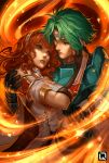 1boy 1girl alm_(fire_emblem) armor cape carrying celica_(fire_emblem) fire fire_emblem fire_emblem_echoes:_mou_hitori_no_eiyuuou gloves green_eyes green_hair headband kuroi-tsuki long_hair looking_at_another princess_carry red_eyes redhead smile tiara