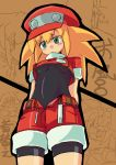 1girl bike_shorts blonde_hair gloves green_eyes hat long_hair open_mouth red_shorts rock_volnutt rockman rockman_dash roll_caskett shorts smile