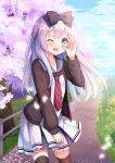 1girl blue_eyes blush cardigan cherry_blossoms looking_at_viewer one_eye_closed original outdoors school_uniform serafuku silver_hair solo standing thigh-highs yatsuki_yura