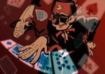 1boy ace_of_spades bill_cipher bow bowtie card closed_eye crossed_fingers diamonds_(playing_card) eyebrows eyepatch fez_hat formal gambling glasses gravity_falls grin hat highres jack_of_spades joker king_of_spades laughing limited_palette melon_(melon_cream_soda) necktie old_man one-eyed playing_card poker queen_of_spades red_background smile spades_(playing_card) stanley_pines suit top_hat triangle