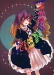 1girl :d dress fukufukupine gothic_lolita gradient_hair hijiri_byakuren light_brown_hair lolita_fashion long_hair looking_to_the_side multicolored_hair open_mouth purple_hair smile solo sorcerer's_sutra_scroll sparkle touhou yellow_eyes