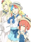 3girls :d bag blonde_hair blue_eyes braid casual commandant_teste_(kantai_collection) etorofu_(kantai_collection) fairy_(kantai_collection) grey_eyes hairband hat holding kantai_collection long_hair mitsukoshi_(department_store) multicolored_hair multiple_girls ninimo_nimo open_mouth redhead shopping_bag short_hair simple_background smile straw_hat streaked_hair sunglasses twin_braids warspite_(kantai_collection) white_background