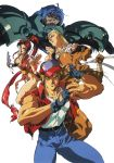 90s adjusting_clothes adjusting_hat andy_bogard armor bandage blonde_hair blue_hair breasts brown_eyes clenched_hands denim erect_nipples fan fatal_fury finger_to_mouth grin hat headband high_ponytail highres holding holding_fan jacket jeans joe_higashi long_hair looking_at_viewer medium_breasts official_art oobari_masami open_clothes open_jacket open_mouth pants pelvic_curtain profile red_sclera redhead shiranui_mai shirt short_hair simple_background sleeveless_jacket smile t-shirt terry_bogard white_background