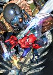 3boys absurdres bodysuit city commentary electricity fighting flying from_above fur_collar glowing glowing_eyes highres iron_man marvel mask mechanical_wings midair multiple_boys murata_yuusuke official_art power_armor silk spider-man spider-man:_homecoming spider-man_(series) spider_web superhero taser vulture_(marvel) wings