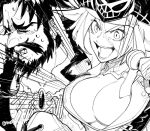 10s 1boy 1girl arm_around_shoulder beard chair close-up edward_teach_(fate/grand_order) facial_hair fate/extra fate/grand_order fate_(series) greyscale long_hair microphone mojaranmo monochrome open_mouth pirate rider_(fate/extra) signature