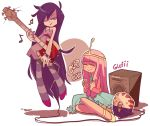 adventure_time amplifier axe bass_guitar bite_mark blush bow bowtie butler clapping crown cup dress fangs froc_coat grey_skin highres instrument long_hair marceline_abadeer mug musical_note nail_polish one_eye_closed peppermint_butler pink_hair princess_bonnibel_bubblegum purple_hair smile snovi striped striped_legwear vampire weapon