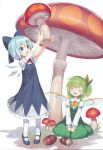 2girls :o ^_^ ^o^ absurdres acorn adapted_costume alternate_costume bangs blue_bow blue_dress blue_eyes blue_hair blush bow bowtie capriccio cirno closed_eyes daiyousei dress eyebrows_visible_through_hair fairy_wings frills giant_mushroom green_hair green_skirt green_vest hair_between_eyes hair_ribbon happy head_tilt highres holding ice ice_wings kneehighs long_sleeves mary_janes multiple_girls mushroom on_ground open_mouth outstretched_arms puffy_long_sleeves puffy_sleeves red_ribbon ribbon shoes short_hair short_sleeves simple_background sitting skirt source_request tiptoes touhou vest white_background white_legwear wings yellow_bow yellow_bowtie yellow_ribbon