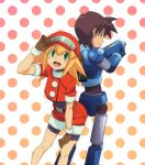 1girl bike_shorts blonde_hair gloves green_eyes hat long_hair open_mouth red_shorts rock_volnutt rockman rockman_dash roll_caskett shorts smile utsuki
