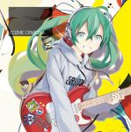 1girl :d floating_hair green_eyes green_hair grey_sweater grin guitar hair_between_eyes hatsune_miku headphones heart highres holding holding_instrument instrument kari_kenji long_hair looking_at_viewer open_mouth smile solo star star_print twintails upper_body vocaloid