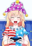 1girl american_flag_shirt bangs blonde_hair clownpiece cobalt controller dualshock eyebrows_visible_through_hair game_controller gamepad happy hat highres jester_cap long_hair neck_ruff open_mouth polka_dot shirt short_sleeves smile solo star star_print striped touhou upper_body