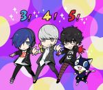 3boys black_hair blue_hair cat dancing glasses gloves hair_over_one_eye headphones headphones_around_neck jacket kurusu_akira looking_at_viewer mask mizunomoto morgana_(persona_5) multiple_boys narukami_yuu persona persona_3 persona_3:_dancing_moon_night persona_4 persona_4:_dancing_all_night persona_5 persona_5:_dancing_star_night pose red_gloves shoes silver_hair smile sneakers yuuki_makoto