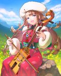 1girl :d bangs bead_necklace beads bird blue_eyes bow_(instrument) braid brown_hair clouds commentary_request day dress earrings eyebrows_visible_through_hair fingernails flower fur-trimmed_sleeves fur_hat fur_trim grass hair_ornament half-closed_eyes hat instrument jewelry jikuu_no_umi_no_historica juuden long_hair long_sleeves looking_at_viewer morin_khuur mountain music nail_polish necklace official_art open_mouth outdoors pink_dress pink_nails playing_instrument rock side_braid sitting sky smile solo tassel traditional_clothes twin_braids