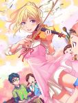 :d arima_kousei backwards_hat bangs bench bird blonde_hair blush_stickers braid brown_eyes brown_hair character_request clock closed_eyes dove dutch_angle glasses hat highres instrument keyboard_(instrument) low_twintails melodica miyazono_kawori music open_mouth oretoreon playing_instrument ponytail shigatsu_wa_kimi_no_uso sitting smile solid_circle_eyes twin_braids twintails violet_eyes violin