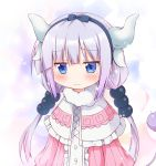 1girl blue_eyes blush closed_mouth eyebrows_visible_through_hair horns kanna_kamui kobayashi-san_chi_no_maidragon korie_riko long_hair looking_away multicolored_hair purple_hair silver_hair solo tail tearing_up twintails two-tone_hair upper_body