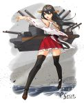 1girl bare_shoulders black_hair black_legwear boots brown_eyes cannon detached_sleeves full_body hair_ornament hairband hairclip haruna_(kantai_collection) japanese_clothes kantai_collection long_hair machinery nontraditional_miko open_mouth outstretched_arm pleated_skirt red_skirt ribbon-trimmed_sleeves ribbon_trim skirt solo thigh-highs thigh_boots twitter_username yamashiki_(orca_buteo)