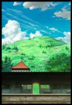 blue_sky border building clouds cloudy_sky commentary_request day door grass highres hill hosoi_mikio no_humans original outdoors photoshop plant railroad_tracks scenery sky train_station tree windowboxed